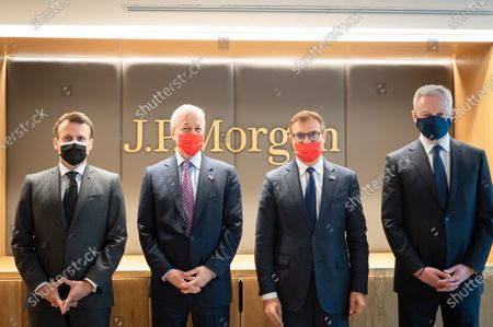 Jamie Dimon, CEO of JP Morgan, Emmanuel Macron, President of the Republic, Kyril Courboin, President of France of JP Morgan and Bruno Le Maire, Minister of Economy and Finance, at the inauguration of the Paris offices of JP Morgan Bank