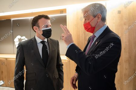 Emmanuel Macron, President of the Republic, Jamie Dimon, CEO of JP Morgan, at the inauguration of the Paris offices of the bank JP Morgan