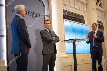 Jamie Dimon, CEO of JP Morgan, Emmanuel Macron, President of the Republic, Kyril Courboin, President France of JP Morgan at the inauguration of the Paris offices of JP Morgan Bank