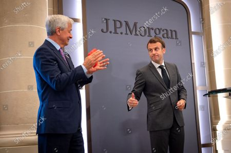 Stock Photo of Emmanuel Macron, President of the Republic, Jamie Dimon, CEO of JP Morgan, at the inauguration of the Paris offices of the bank JP Morgan