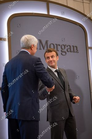 Stock Picture of Emmanuel Macron, President of the Republic, Jamie Dimon, CEO of JP Morgan, at the inauguration of the Paris offices of the bank JP Morgan