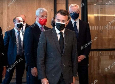 Jamie Dimon, CEO of JP Morgan, Emmanuel Macron, President of the Republic and Bruno Le Maire, Minister of Economy and Finance, at the inauguration of the Paris offices of JP Morgan Bank