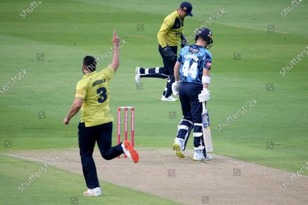 Stock Picture of WICKET YORKSHIRE VIKINGS Jordan Thompson FOR 4 CAUGHT Birmingham Bears Michael Burgess BOWLED Birmingham Bears Tim Bresnan 23-2 during the Vitality T20 Blast North Group match between Warwickshire County Cricket Club and Yorkshire County Cricket Club at Edgbaston, Birmingham