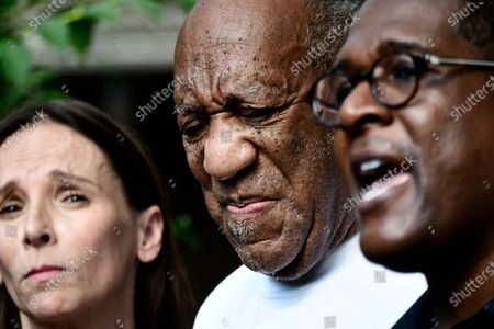 US actor Bill Cosby (C) walks to briefly address the media with his attorney Jennifer Bonjean (L) and spokeman Andrew Wyatt (R) after he arrived home following the Pennsylvania Supreme Court's ruling throwing out Cosby's sexual assault conviction which is expected to result in his release from prison in Elkins Park, Pennsylvania, USA, 30 June 2021. Cosby has already served more than two years in prison following his conviction for assaulting Andrea Constand.