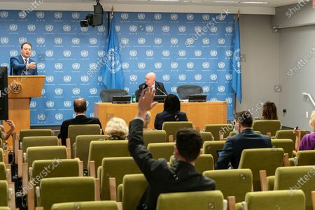 Ambassador Vassily Nebenzia, the Permanent Representative of the Russian Federation to the United Nations addresses the press during a monthly briefing at UN Headquarters. He answered questions about the situation in Syria and Yemen as well as the current state of affairs between Russia and the United States.