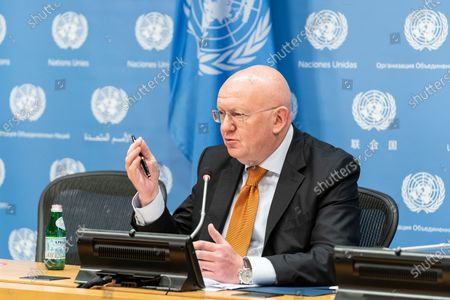 Stock Picture of Ambassador Vassily Nebenzia, the Permanent Representative of the Russian Federation to the United Nations addresses the press during a monthly briefing at UN Headquarters. He answered questions about the situation in Syria and Yemen as well as the current state of affairs between Russia and the United States.
