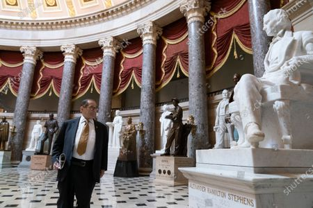 Rep. Jerrold Nadler, D-N.Y., looks at the statues in Statuary Hall, including the one of Alexander Hamilton Stephens, the vice president of the confederacy, as the House prepares to vote on the creation of a select committee to investigate the Jan. 6 insurrection, at the Capitol in Washington