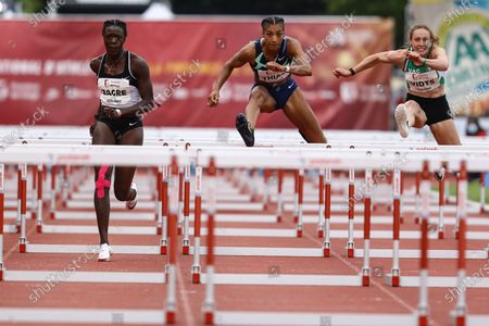 Belgian athlete Anne Zagre and Belgian athlete Nafissatou 'Nafi' Thiam pictured in action during the 'Meeting International d'Athletisme de la Province de Liege' athletics event in Liege, Wednesday 30 June 2021.