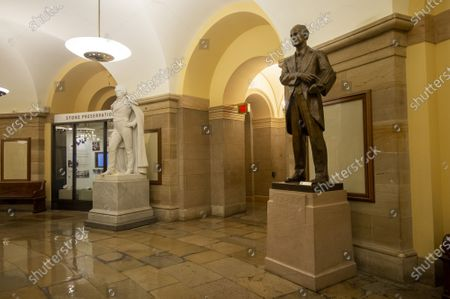 Stock Image of The House of Representatives voted to remove all Confederate statues from public display in the U.S. Capitol in Washington, DC on Wednesday, July 29, 2021. The statues include James Paul Clarke and John Caldwell Calhoun, who stand side by side in the Crypt on the first floor of the Capitol.