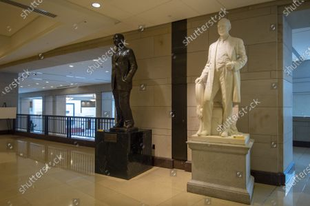 The House of Representatives voted to remove all Confederate statues from public display in the U.S. Capitol in Washington, DC, on Wednesday July 30, 2021. The works include the statue of James Paul Clarke, who stands outside Emancipation Hall on the upper level of the Capitol Visitors Center.
