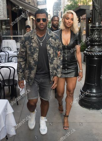 Stock Image of Russell Wilson and Ciara head to dinner at Philippe Chow