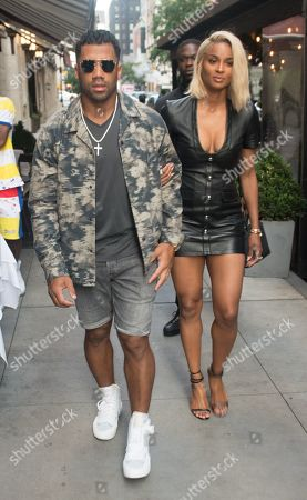 Stock Photo of Russell Wilson and Ciara head to dinner at Philippe Chow