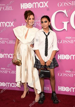 """Actress Donna Murphy, left, and daughter Darmia Hope Elliott attend the premiere of the new HBO Max television series """"Gossip Girl"""" at Spring Studios, in New York"""