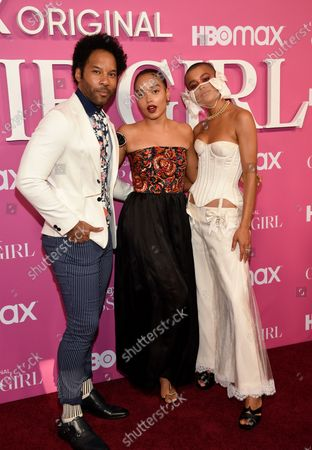 """Actors Jonathan Fernandez, left, Whitney Peak and Jordan Alexander pose together at the premiere of the new HBO Max television series """"Gossip Girl"""" at Spring Studios, in New York"""