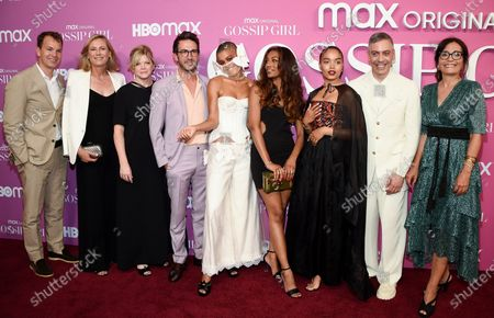 """And HBO Max chief content officer Casey Bloys, left, WarnerMedia CEO Ann Sarnoff, executive producer Stephanie Savage, executive producer Josh Schwartz, actress Jordan Alexander, actress Savannah Smith, actress Whitney Peak, executive producer and showrunner Josh Safran and HBO Max head of original content Sarah Aubrey pose together at the premiere of the new HBO Max television series """"Gossip Girl"""" at Spring Studios, in New York"""