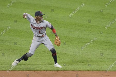 Minnesota Twins Nick Gordon (1) makes the out to retire the side against the Chicago White Sox the during the seventh inning of baseball at Guaranteed Rate Field in Chicago on Wednesday, June 30, 2021.