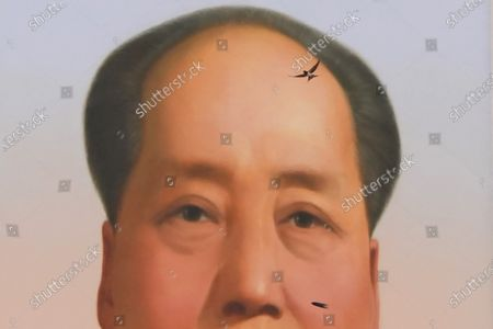 Stock Image of Swallow flies near the portrait of late Chinese leader Mao Zedong during a ceremony to mark the 100th anniversary of the founding of the ruling Chinese Communist Party at Tiananmen Gate in Beijing