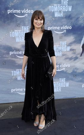"""Mary Lynn Rajskub, a cast member in """"The Tomorrow War,"""" poses at the Los Angeles premiere of the film, at Banc of California Stadium"""