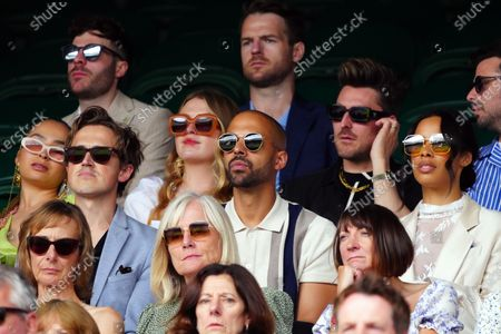 Tom Fletcher, Marvin Humes and Rochelle Humes watching the action on Centre Court