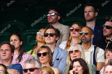 Giovanna Fletcher, Tom Fletcher and Marvin Humes watching the action on Centre Court