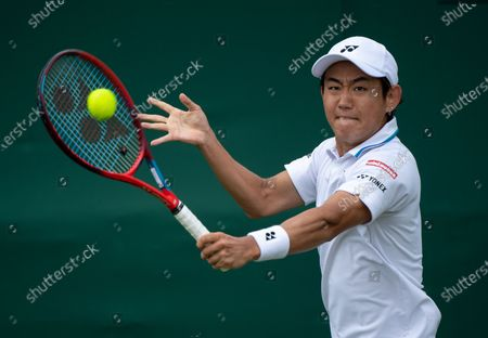 Yoshihito Nishioka (JPN) playing against John Isner (USA) in the first round of the Gentlemen's Singles on Court 18 at The Championships 2021