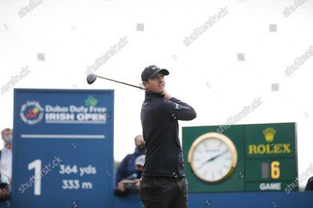 Nicolas Colsaerts of Belgium tees off on the 1st hole of his final round; Mount Juliet Golf Club, Kilkenny, Ireland; Dubai Duty Free Irish Open Golf, Day Four.