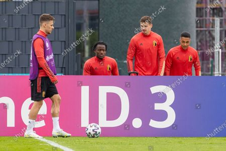 Stock Picture of Belgium's Thorgan Hazard, Belgium's Michy Batshuayi, Belgium's Leander Dendoncker and Belgium's Youri Tielemans pictured during a training session of the Belgian national soccer team Red Devils, in Tubize, Thursday 01 July 2021. The team is preparing for the UEFA 2020 quarter-finals against Italy on Friday.