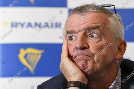 Stock Image of Press briefing with CEO Michael O'Leary of Ryanair on the company's Covid-19 recovery schedule for Belgium