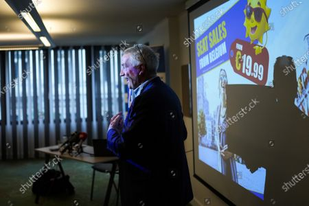 Stock Picture of Ryanair Chief Executive Officer Michael O'Leary poses for photographers during a media conference in Brussels