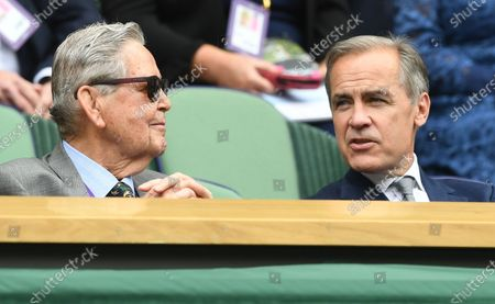 Mark Carney (R), former Governor of the Bank of England, in the royal box at the Wimbledon Championships, Wimbledon, Britain, 01 July 2021.