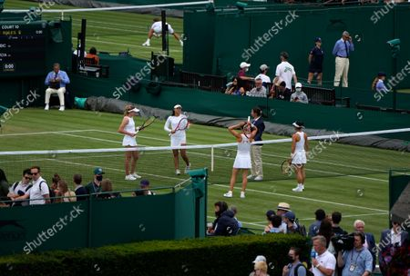 The start of the women's doubles match between Japan's Misaki Doi and Switzerland's Viktorija Golubic and Russia's Ekaterina Alexandrova and China's Yafan Wang on day four of the Wimbledon Tennis Championships in London