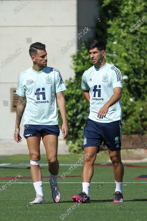 Dani Ceballos of Spain and Marco Asensio during the training of Spanish Olympic Soccer Team at Ciudad del Futbol Las Rozas on Jun 20, 2021 in Las Rozas, Madrid, Spain.