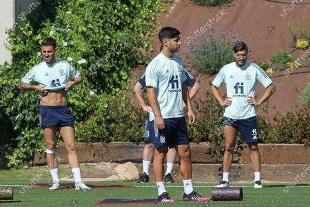 Dani Ceballos of Spain, Marco Asensio and Oscar Gil of Spain U21 during the training of Spanish Olympic Soccer Team at Ciudad del Futbol Las Rozas on Jun 20, 2021 in Las Rozas, Madrid, Spain.