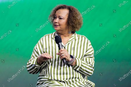 """Lisa Jackson, the Sustainability Manager of Apple"""" talks about her about her Work at the fight of the climate crisis at the Austrian World Summit"""" on stage with Arnold Schwarzenegger in Vienna, Austria"""