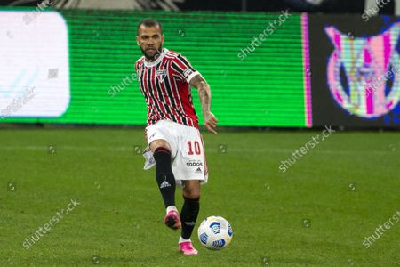 Daniel Alves (10) of Sao Paulo during the Brazilian National League (Campeonato Brasileiro Serie A) football match between Corinthians and Sao Paulo at the Neo Quimica Arena in Sao Paulo, Brazil. The game ended in a 0-0 draw.