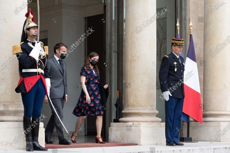 As a continuation of the Generation Equality Forum, the President of the Republic, Mr Emmanuel Macron accompanies Ms. Katrin Jakobsdottir, Prime Minister of the Republic of Iceland, on her departure from the Palace of the Elysee.