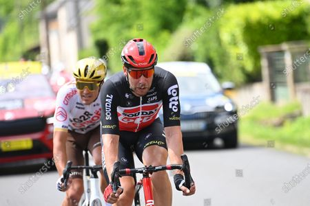Belgian Greg Van Avermaet of AG2R Citroen Team and German Roger Kluge of Lotto Soudal pictured in action during the sixth stage of the 108th edition of the Tour de France cycling race, 160,6km from Tours to Chateauroux, France, Thursday 01 July 2021. This year's Tour de France takes place from 26 June to 18 July 2021.