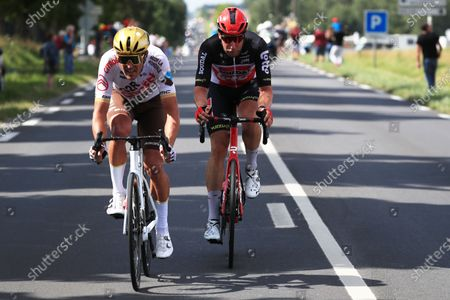 Belgian rider Greg Van Avermaet of the AG2R Citroen Team (L) and German rider Roger Kluge of the Lotto Soudal team (R) in action during the 6th stage of the Tour de France 2021 over 160.6 km from Tours to Chateauroux, France, 01 July 2021.