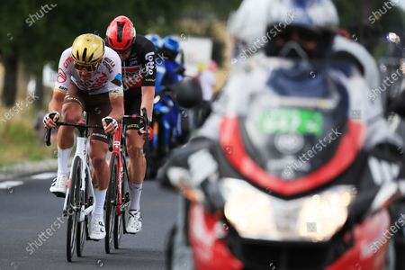 Belgian rider Greg Van Avermaet of the AG2R Citroen Team (L) and German rider Roger Kluge of the Lotto Soudal team (2-L) in action during the 6th stage of the Tour de France 2021 over 160.6 km from Tours to Chateauroux, France, 01 July 2021.