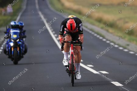 Belgian rider Greg Van Avermaet of the AG2R Citroen Team (back) and German rider Roger Kluge of the Lotto Soudal team (front) in action during the 6th stage of the Tour de France 2021 over 160.6 km from Tours to Chateauroux, France, 01 July 2021.