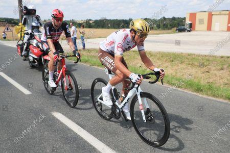 Belgian rider Greg Van Avermaet of the AG2R Citroen Team (R) and German rider Roger Kluge of the Lotto Soudal team (L) in action during the 6th stage of the Tour de France 2021 over 160.6 km from Tours to Chateauroux, France, 01 July 2021.