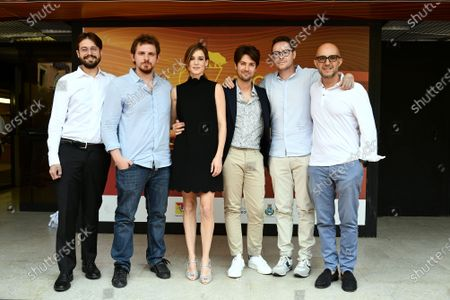 The directors Roberto De Feo and Paolo Strippoli with cast: Matilda Lutz, the screenplayers Lucio Besana, Milo Tissone during the photocall of film ' A Classic Horror Story ' presented by Netflix