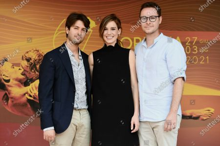 The directors Roberto De Feo and Paolo Strippoli, Matilda Lutz during the photocall of film ' A Classic Horror Story ' presented by Netflix