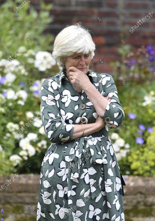 Lady Jane Fellowes gestures, at the unveiling of a statue of her sister Diana, Princess of Wales, on what woud have been her 60th birthday, in the Sunken Garden at Kensington Palace, London