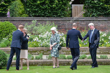 (left to right) Prince Harry, Lady Sarah McCorquodale, Lady Jane Fellowes, Prince William and Earl Spencer ahead of the unveiling of a statue they commissioned of their mother Diana, Princess of Wales, in the Sunken Garden at Kensington Palace, London, on what would have been her 60th birthday
