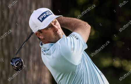Stock Image of Michael Thompson of the US hits his tee shot on the eleventh hole during the first round of the Rocket Mortgage Classic golf tournament at the Detroit Golf Club in Detroit, Michigan, USA, 01 July 2021.