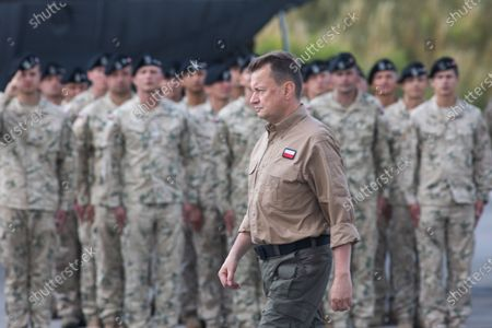 Stock Picture of Minister of National Defense, Mariusz Blaszczak attends the last unit of Polish soldiers landed at the airport in Wroclaw, Poland on June 30, 2021. Thus, the Polish mission in Afghanistan ended after 20 years.