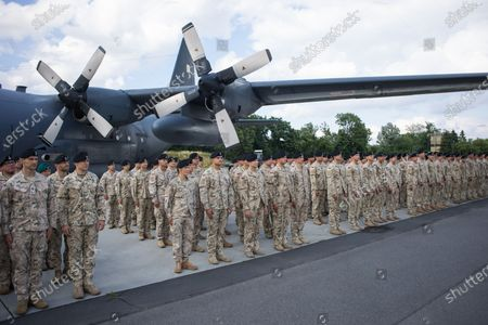 Stock Photo of The last unit of Polish soldiers landed at the airport in Wroclaw, Poland on June 30, 2021. Thus, the Polish mission in Afghanistan ended after 20 years. The welcome was attended by the Minister of National Defense, Mariusz Blaszczak.