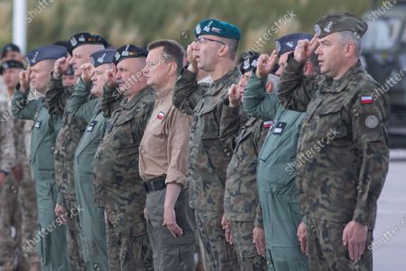 Minister of National Defense, Mariusz Blaszczak attends the last unit of Polish soldiers landed at the airport in Wroclaw, Poland on June 30, 2021. Thus, the Polish mission in Afghanistan ended after 20 years.
