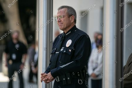 Los Angeles Police Chief Michel Moore and Los Angeles County District Attorney George Gascon along with community leaders discuss community violence reduction efforts in Los Angeles on Wednesday, June 30, 2021 in Los Angeles, CA. (Jason Armond / Los Angeles Times)